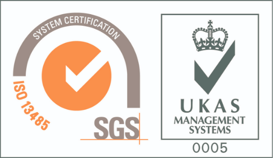 Certifcate SGS ISO 13485 and UKAS Management Systems